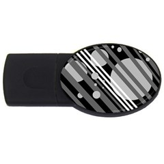 Gray lines and circles USB Flash Drive Oval (1 GB)