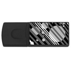 Gray lines and circles USB Flash Drive Rectangular (2 GB)