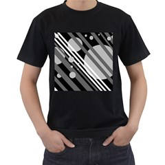 Gray lines and circles Men s T-Shirt (Black) (Two Sided)