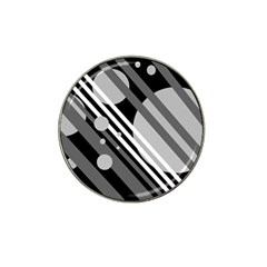 Gray lines and circles Hat Clip Ball Marker