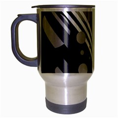 Gray lines and circles Travel Mug (Silver Gray)