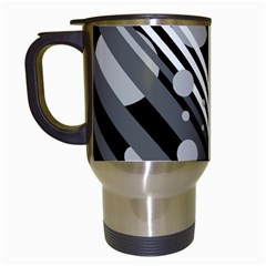 Gray lines and circles Travel Mugs (White)