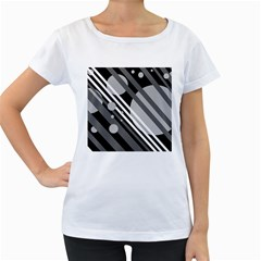 Gray lines and circles Women s Loose-Fit T-Shirt (White)
