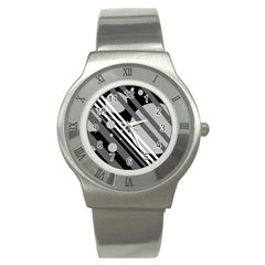 Gray lines and circles Stainless Steel Watch