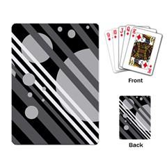 Gray lines and circles Playing Card