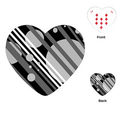 Gray lines and circles Playing Cards (Heart)