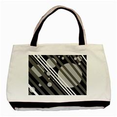 Gray lines and circles Basic Tote Bag