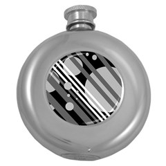 Gray lines and circles Round Hip Flask (5 oz)