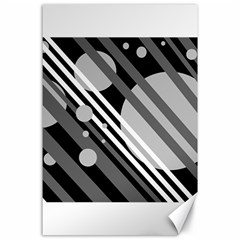 Gray lines and circles Canvas 24  x 36
