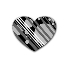 Gray lines and circles Rubber Coaster (Heart)