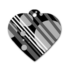 Gray lines and circles Dog Tag Heart (Two Sides)