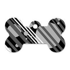 Gray lines and circles Dog Tag Bone (Two Sides)