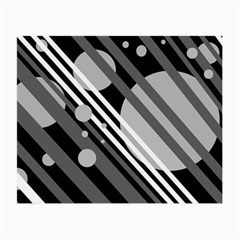 Gray lines and circles Small Glasses Cloth (2-Side)