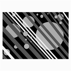 Gray lines and circles Large Glasses Cloth