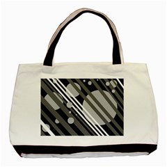 Gray lines and circles Basic Tote Bag (Two Sides)