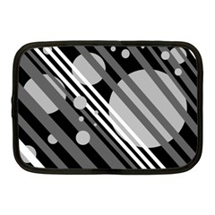 Gray lines and circles Netbook Case (Medium)