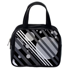 Gray lines and circles Classic Handbags (One Side)