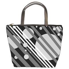 Gray lines and circles Bucket Bags