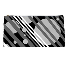 Gray lines and circles Pencil Cases