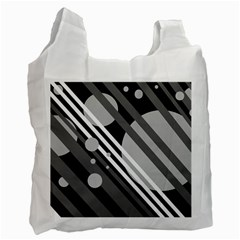 Gray lines and circles Recycle Bag (Two Side)