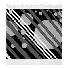 Gray lines and circles Shower Curtain 66  x 72  (Large)
