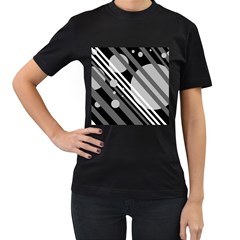 Gray lines and circles Women s T-Shirt (Black)