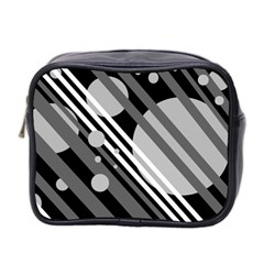 Gray lines and circles Mini Toiletries Bag 2-Side
