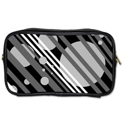 Gray lines and circles Toiletries Bags