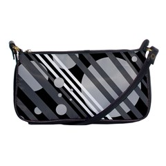 Gray lines and circles Shoulder Clutch Bags