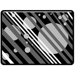 Gray lines and circles Fleece Blanket (Large)