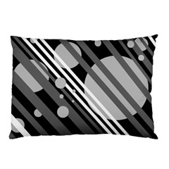 Gray lines and circles Pillow Case (Two Sides)