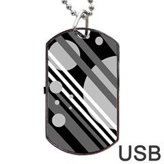 Gray lines and circles Dog Tag USB Flash (Two Sides)