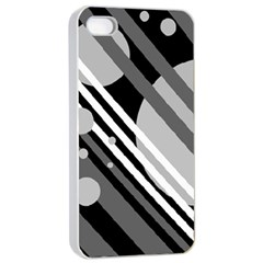 Gray lines and circles Apple iPhone 4/4s Seamless Case (White)