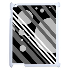 Gray lines and circles Apple iPad 2 Case (White)