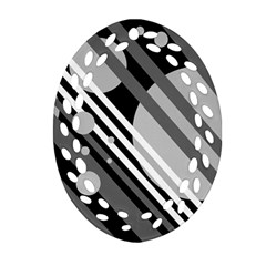 Gray lines and circles Oval Filigree Ornament (2-Side)