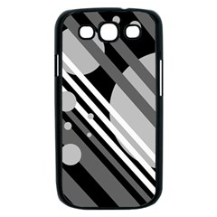 Gray lines and circles Samsung Galaxy S III Case (Black)