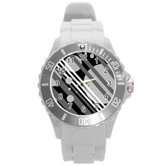 Gray lines and circles Round Plastic Sport Watch (L)