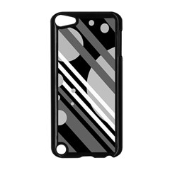 Gray lines and circles Apple iPod Touch 5 Case (Black)