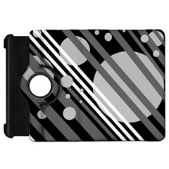Gray lines and circles Kindle Fire HD Flip 360 Case