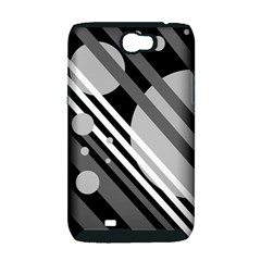 Gray lines and circles Samsung Galaxy Note 2 Hardshell Case (PC+Silicone)