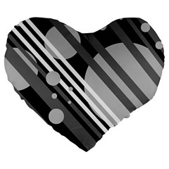Gray lines and circles Large 19  Premium Heart Shape Cushions