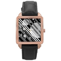 Gray lines and circles Rose Gold Leather Watch