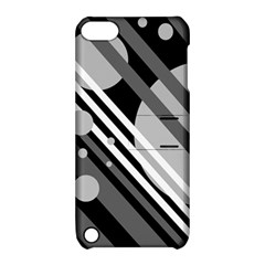 Gray lines and circles Apple iPod Touch 5 Hardshell Case with Stand