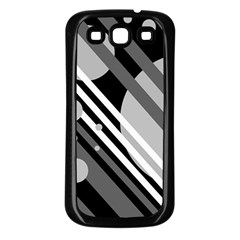 Gray lines and circles Samsung Galaxy S3 Back Case (Black)