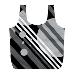 Gray lines and circles Full Print Recycle Bags (L)