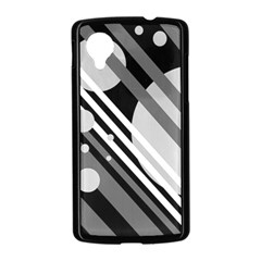 Gray lines and circles Nexus 5 Case (Black)