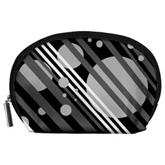 Gray lines and circles Accessory Pouches (Large)