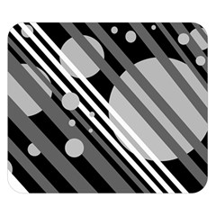 Gray lines and circles Double Sided Flano Blanket (Small)