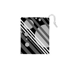 Gray lines and circles Drawstring Pouches (XS)