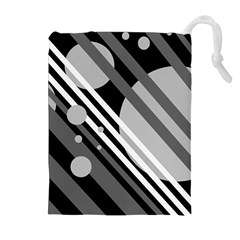 Gray lines and circles Drawstring Pouches (Extra Large)